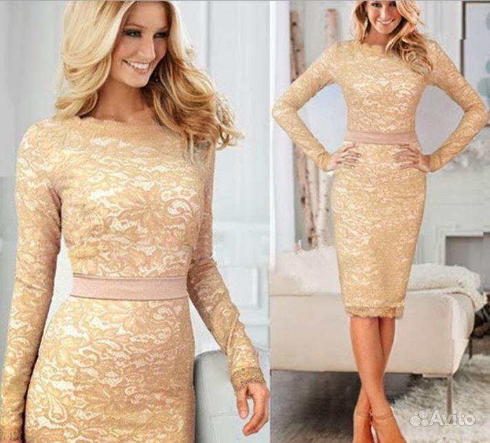 Купить Платье Кружевное Бежевое