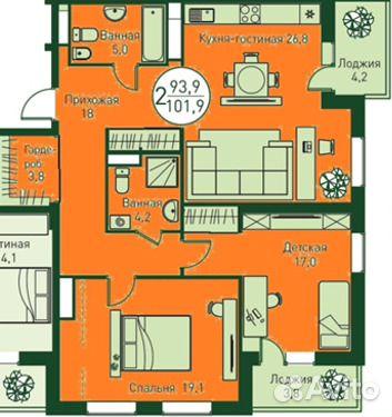 Продается двухкомнатная квартира за 5 600 000 рублей. Велижанская 70.