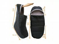 Новый огромный кокон для коляски (черный с серым)